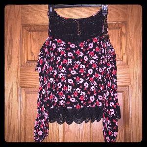 Express Crochet Open Shoulder Floral Blouse